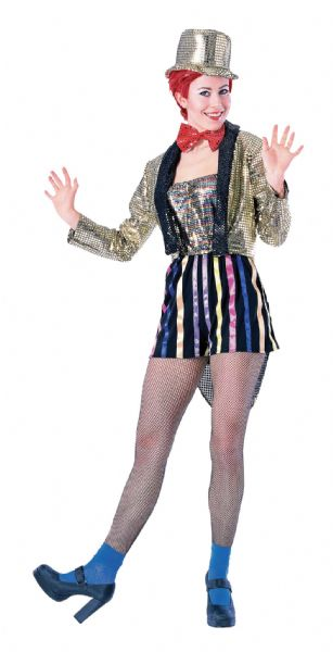 Adults Columbia Entertainer Costume Circus Hollywood Show Fancy Dress Outfit